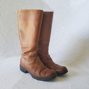 Ugg Shearling Leather Boots Tan Heeled Sz 9